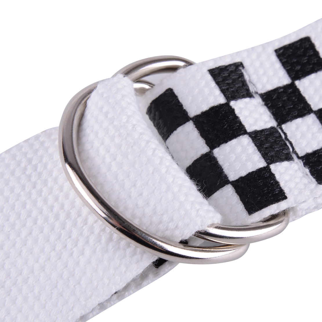 Fashion Checkerboard Couple Belt Plaid Punk Long Canvas Gift Black White D-Ring