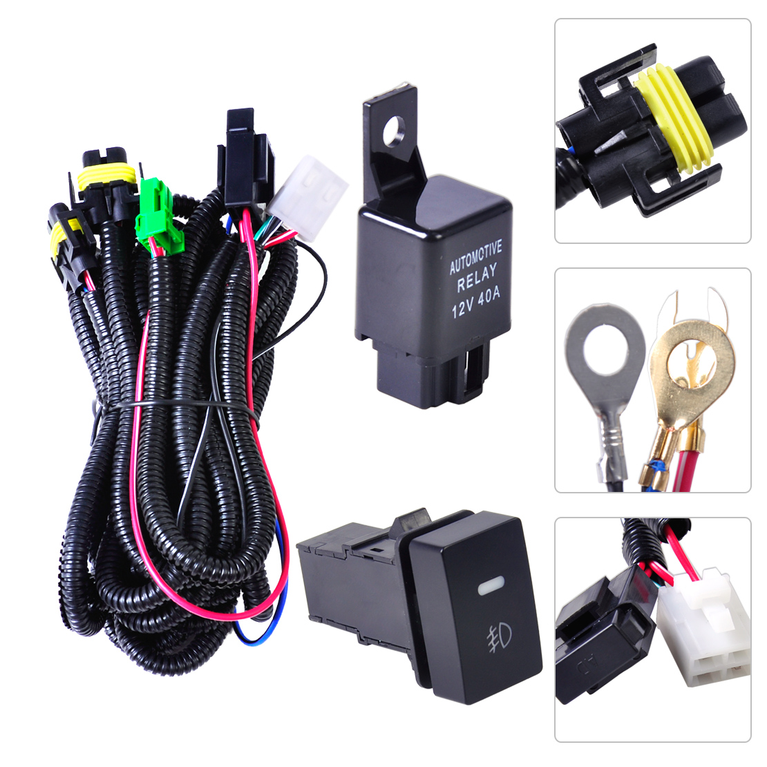For Ford Fog LIght Wiring Harness Sockets Wire + LED indicators Switchr +  Relay | eBay