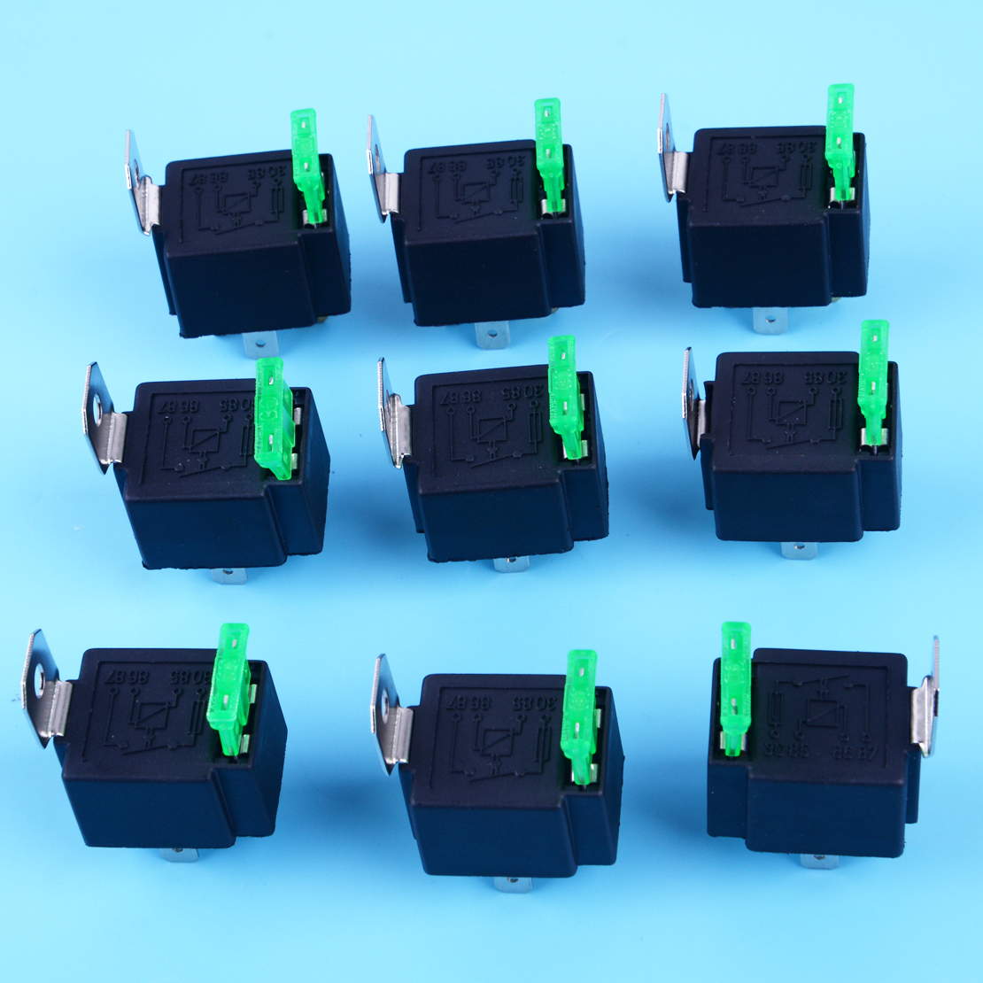 10x Fused On  Off Motor Auto Fused Relay Dc 12v 30a 4 Pin