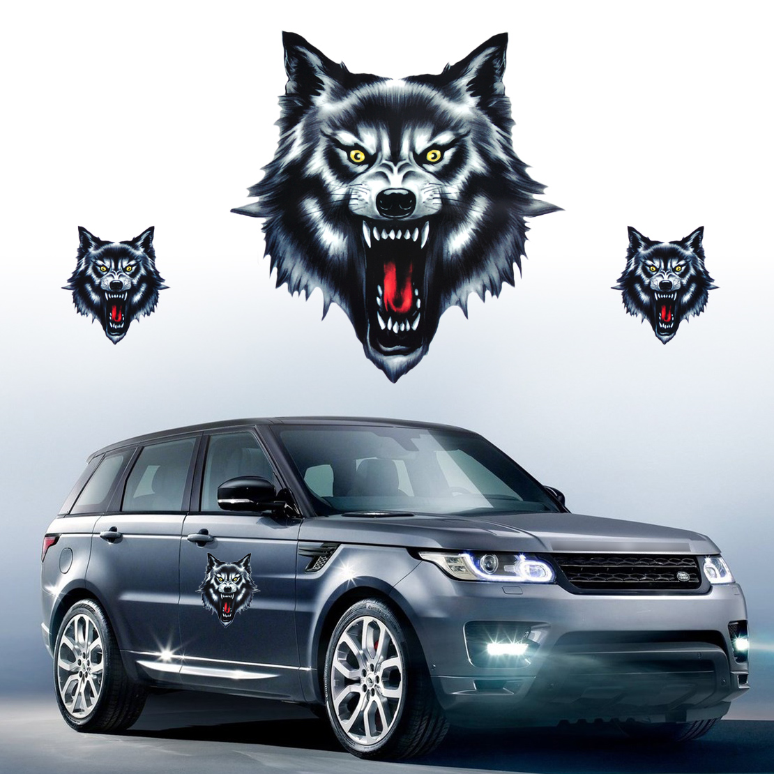 Details about wolf head decal vinyl sticker fit motorcycle motorbike car truck helmet cool